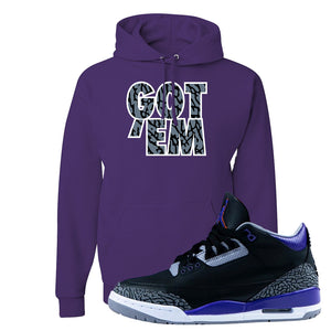 Air Jordan 3 Court Purple Hoodie | Got Em, Deep Purple