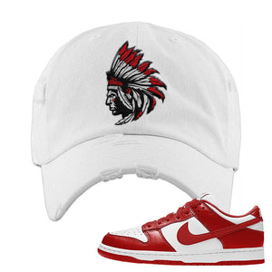 SB Dunk Low 'St. John's' Distressed Dad Hat | White, Indian Chief