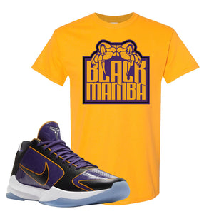 Kobe 5 Protro 5x Champ T Shirt | Black Mamba, Gold