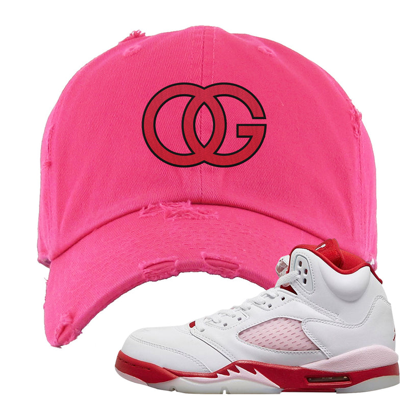 Air Jordan 5 GS Pink Foam and Gym Red Distressed Dad Hat | OG, Pink