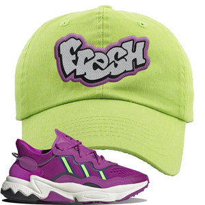Ozweego Vivid Pink Sneaker Lime Green Dad Hat | Hat to match Adidas Ozweego Vivid Pink Shoes | Fresh