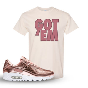 Air Max 90 WMNS 'Medal Pack' Rose Gold Sneaker Natural T Shirt | Tees to match Nike Air Max 90 WMNS 'Medal Pack' Rose Gold Shoes | Got Em
