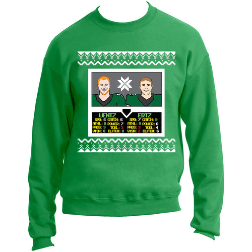 on the front of the philadelphia eagles carson wentz and zach ertz nba jam inspired character select screen ugly christmas sweater is a character select screen featuring carson wentz and zach ertz with their stats