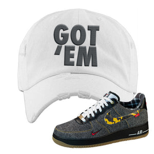 Air Force 1 Low Plaid And Camo Remix Pack Distressed Dad Hat | Got Em, White