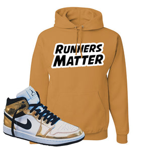 Air Jordan 1 Mid SE Metallic Gold Hoodie | Runners Matter, Old Gold