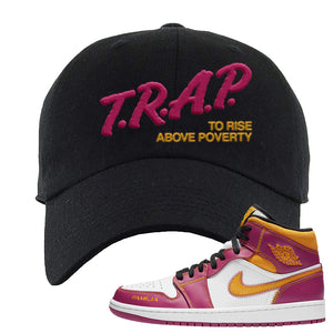Air Jordan 1 Mid Familia Dad Hat | Trap To Rise Above Poverty, Black