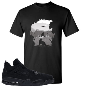 Air Jordan 4 Black Cat  Panther Island Black Made to Match T-Shirt