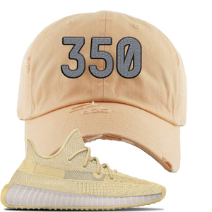 Yeezy Boost 350 V2 Flax Sneaker Peach Distressed Dad Hat | Hat to match Adidas Yeezy Boost 350 V2 Flax Shoes | 350