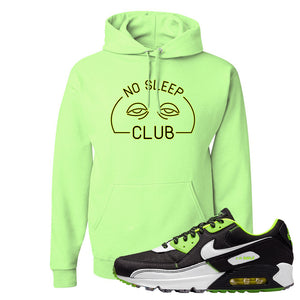 Air Max 90 Exeter Edition Black Hoodie | No Sleep Club, Neon Green