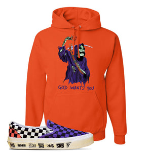 Vans Slip On Venice Beach Pack Hoodie | Orange, GOD Wants You Reaper