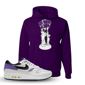 Air Max 1 DNA Series Sneaker Deep Purple Pullover Hoodie | Hoodie to match Nike Air Max 1 DNA Series Shoes | The World Is Yours Statue