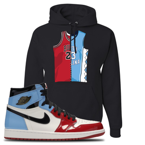 Air Jordan 1 Fearless Jersey Split Black Made to Match Pullover Hoodie
