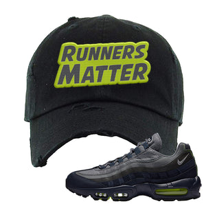 Air Max 95 Midnight Navy / Volt Distressed Dad Hat | Black, Runners Matter