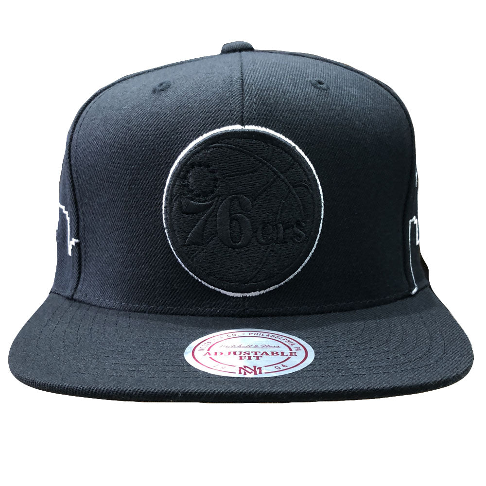 d5c890bd33be8 Embroidered on the front of the philadelphia 76ers black city skyline  snapback hat is the philadelphia