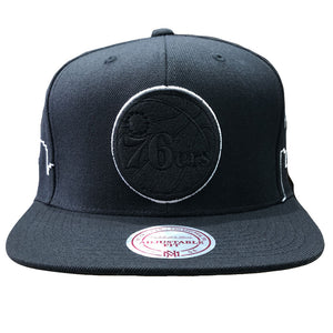 Embroidered on the front of the philadelphia 76ers black city skyline snapback hat is the philadelphia 76ers logo in solid black with a white outline