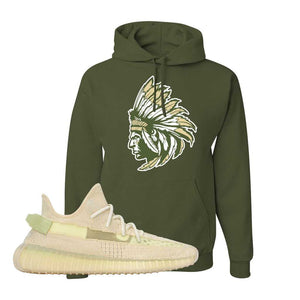 Yeezy 350 v2 Sulfur Hoodie | Military Green, Indian Chief