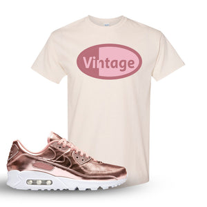 Air Max 90 WMNS 'Medal Pack' Rose Gold Sneaker Natural T Shirt | Tees to match Nike Air Max 90 WMNS 'Medal Pack' Rose Gold Shoes | Vintage Oval