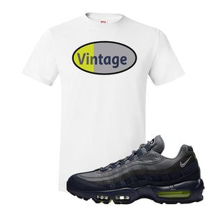 Air Max 95 Midnight Navy / Volt T Shirt | White, Vintage Oval