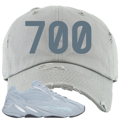 Yeezy Boost 700 V2 Hospital Blue 700 Sneaker Matching Light Gray Distressed Dad Hat