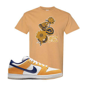 SB Dunk Low Laser Orange T Shirt | Old Gold, Snake Lotus