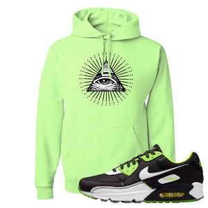 Air Max 90 Exeter Edition Black Hoodie | All Seeing Eye, Neon Green