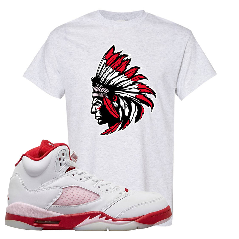 Air Jordan 5 GS Pink Foam and Gym Red T Shirt | Indian Chief, Ash