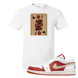 Air Jordan 1 Low Spades T Shirt | Bone Cards, White