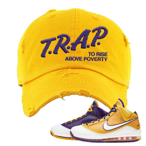 Lebron 7 'Media Day' Distressed Dad Hat | Gold, Trap To Rise Above Poverty