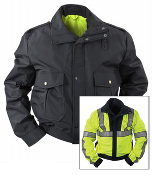 the Police EMT | Reversible Reflective Customizable EMT Coat | Navy Blue and Safety Green ANSI Certified Scotchlite Emergency Jacket for EMTs Policemen Policewomen can be turned inside out to show a reflective yellow side
