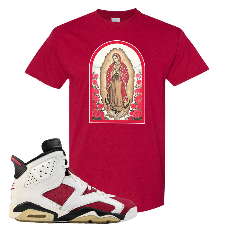 Jordan Jordan 6 Carmine Sneaker Cardinal T Shirt | Tees to match Nike Air Jordan 6 Carmine Shoes | Virgin Mary
