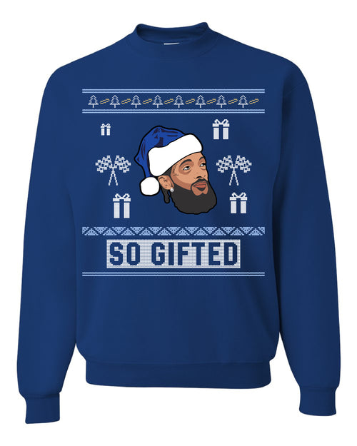 FOOT CLAN | NIPSEY HUSSLE SO GIFTED UGLY SWEATER | CREWNECK SWEATSHIRT | ROYAL BLUE