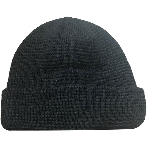The black waffle beanie features a waffle pattern and is solid black