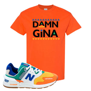 997S Multicolor Sneaker Orange T Shirt | Tees to match New Balance 997S Multicolor Shoes | Damn Gina