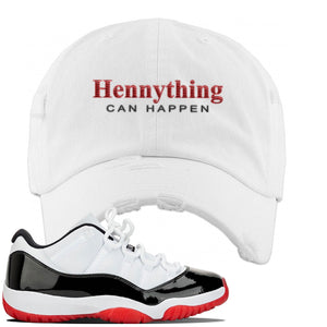 Jordan 11 Low White Black Red Sneaker White Distressed Dad Hat | Hat to match Nike Air Jordan 11 Low White Black Red Shoes | HennyThing Is Possible