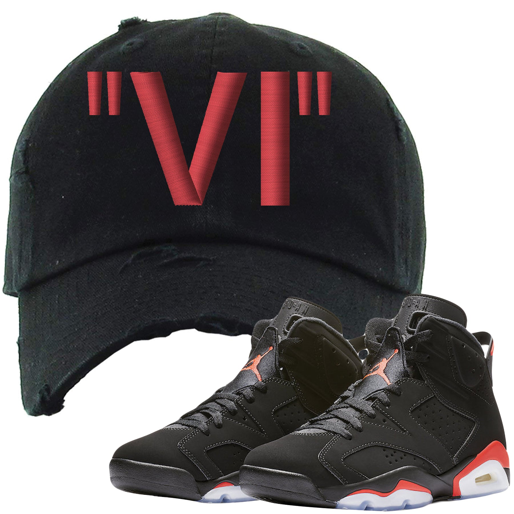 f17b8d8f The Jordan 6 Infrared Distressed Dad Hat is custom designed to perfectly  match the retro Jordan
