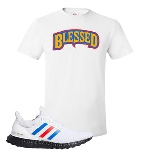 Ultra Boost White Red Blue T Shirt | White, Blessed Arch