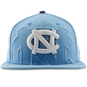 On the front of the UNC spillover snapback hat is the UNC logo embroidered in white