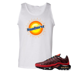printed on the front of the air max plus sunburst sneaker matching white tank top is the sunburst soda logo