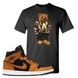 Air Jordan 1 Mid Wheat T Shirt | Sweater Bear, Black