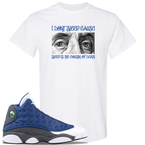 Jordan 13 Flint 2020 Sneaker White T Shirt | Tees to match Nike Air Jordan 13 Flint 2020 Shoes | Franklin Eyes