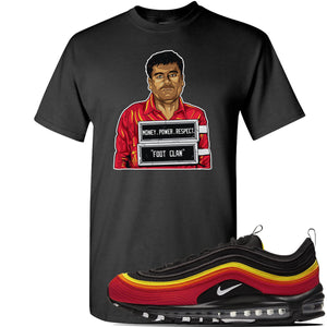 Air Max 97 Black/Chile Red/Magma Orange/White Sneaker Black T Shirt | Tees to match Nike Air Max 97 Black/Chile Red/Magma Orange/White Shoes | EL Chapo Illustration