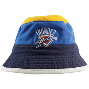 Oklahoma City Thunder Throwback Logo Striped Mitchell and Ness Bucket Hat
