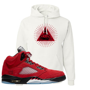 Air Jordan 5 Raging Bull Hoodie | All Seeing Eye, White