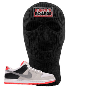 Nike SB Dunk Low Infrared Orange Label Dunks N Boards Black Ski Mask To Match Sneakers