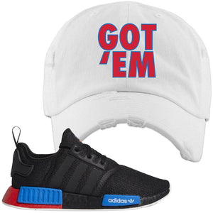 NMD R1 Black Red Boost Matching Distressed Dad Hat | Sneaker Distressed Dad Hat to match NMD R1s | Got Em, White