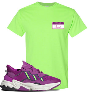 Ozweego Vivid Pink Sneaker Neon Green T Shirt | Tees to match Adidas Ozweego Vivid Pink Shoes | Hello my Name is Mami