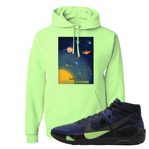 KD 13 Planet of Hoops Hoodie | Vintage Space Poster, Neon Green