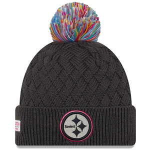 Embroidered on the front of the Pittsburgh Steelers 2019 Crucial Catch women's knit beanie is the Pittsburgh Steelers logo with a pink trim. The beanie features a cross-woven crotchet pattern.