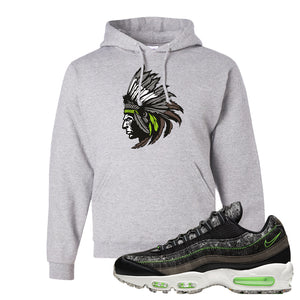 Air Max 95 Black / Electric Green Hoodie | Indian Chief, Ash