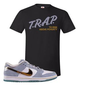 Sean Cliver x SB Dunk Low T Shirt | Trap To Rise Above Poverty, Black
